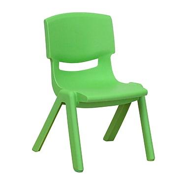 Flash Furniture – Chaise d'école empilable en plastique, siège d'une hauteur de 10,5 po, vert, 8/boîte (1YUYCX003GREEN)