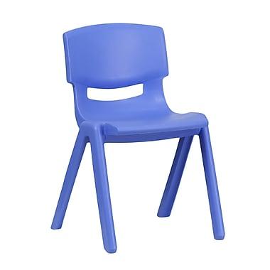 Flash Furniture – Chaise d'école empilable en plastique, siège à une hauteur de 13,25 po, bleu (1YUYCX004BLUE)
