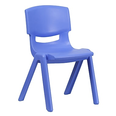 Flash Furniture Blue Plastic Stackable School Chair with 15.5'' Seat Height, (1YUYCX005BLUE)