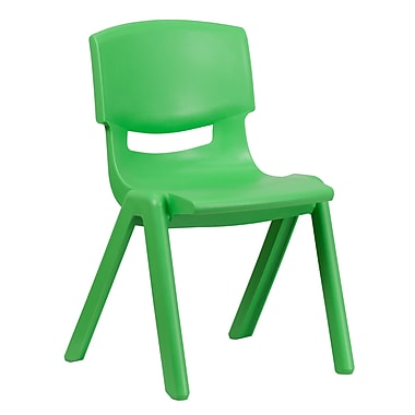 Flash Furniture Plastic Stackable School Chair with 15.5'' Seat Height, Green (1YUYCX005GREEN)
