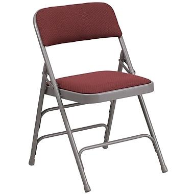 Flash Furniture – Chaise pliante HERCULES en métal à 3 barreaux et à 2 pivots, tissu bourgogne (AWMC309AFBG)