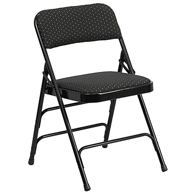Flash Furniture Hercules Series Fabric Upholstered Metal Curved Triple Braced and Double Hinged Folding Chair, Black Patterned