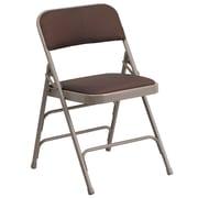 Flash Furniture  Hercules Curved Triple-Braced Double-Hinged Metal Folding Chair, Brown-Pattern Fabric Upholstery (AWMC309AFBRN)
