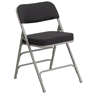 Flash Furniture Hercules Curved Triple Braced Double Hinged Pin-Dot Upholstered Metal Folding Chair, Black, (AWMC320AFBK)