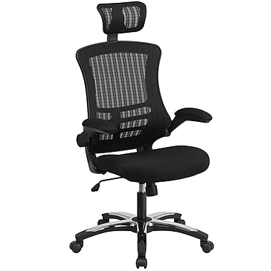 Flash Furniture BLX5H High Back Black Mesh Executive Swivel Office Chair with Flip-Up Arms and Chrome-Nylon Designer Base