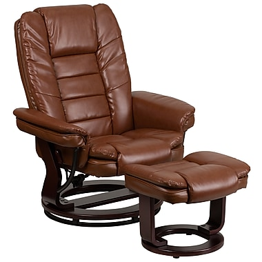 Flash Furniture Contemporary Vintage Leather Recliner and Ottoman, Brown with Swiveling Mahogany Wood Base (BT7818VIN)