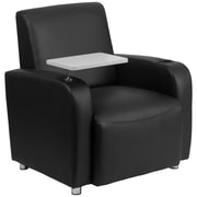 Flash Furniture Leather Guest Chair with Tablet Arm, Chrome Legs and Cup Holder, Black (BT8217BK)