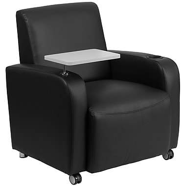 Flash Furniture Leather Guest Chair in Black with Tablet Arm, Front Wheel Casters and Cup Holder (BT8217BKCS)