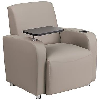 Flash Furniture – Fauteuil visiteur en cuir gris avec accoudoir-tablette, porte-gobelet et pieds chromés (BT8217TN)