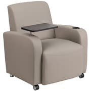 Flash Furniture Leather Guest Chair, Gray with Tablet Arm, Front Wheel Casters and Cup Holder (BT8217TNCS)