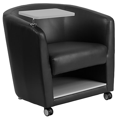 Flash Furniture Leather Guest Chair with Tablet Arm, Front Wheel Casters and Under-Seat Storage, Black (BT8220BKCS)