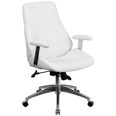 Flash Furniture – Fauteuil direction pivotant à dossier moyen, cuir blanc (BT90068MWH)