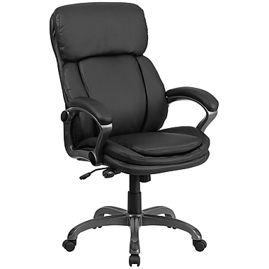 Flash Furniture BT90272H Leather High-Back Executive Swivel Office Chair with Lumbar Support Knob, Black