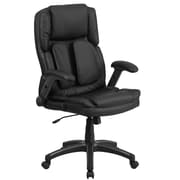 Flash Furniture BT90275H Leather Extreme Comfort High Back Executive Swivel Office Chair with Flip-Up Arms, Black