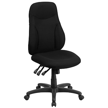 Flash Furniture BT90297H High Back Black Fabric Multi-Functional Ergonomic Swivel Task Chair