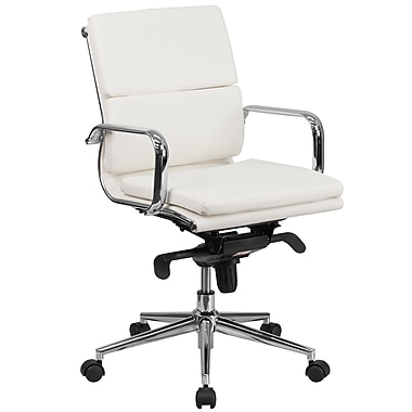 Flash Furniture BT9895MWH Mid-Back Leather Executive Swivel Office Chair with Synchro-Tilt Mechanism, White