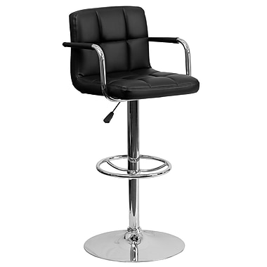 Flash Furniture Adjustable-Height Contemporary Quilted Vinyl Barstool, Black with Chrome Arms and Base (CH102029BK)