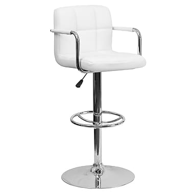 Flash Furniture Adjustable-Height Contemporary Quilted Vinyl Barstool, White with Chrome Arms and Base (CH102029WH)