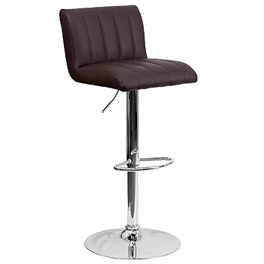 Flash Furniture – Tabouret de bar contemporain et ajustable en vinyle brun et à pied chromé (CH112010BRN)