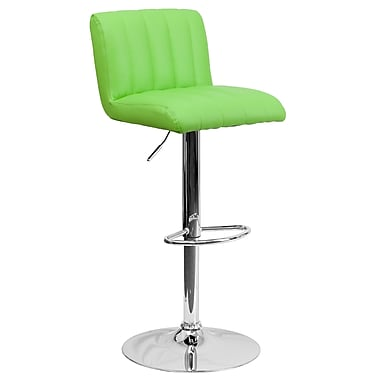 Flash Furniture – Tabouret de bar ajustable contemporain en vinyle vert et à pied chromé (CH112010GRN)
