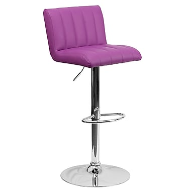Flash Furniture Adjustable-Height Contemporary Vinyl Barstool, Purple with Chrome Base (CH112010PUR)