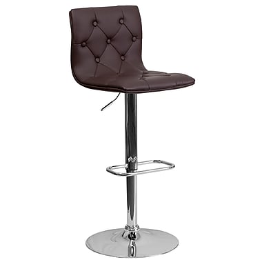 Flash Furniture Adjustable-Height Contemporary Tufted Brown Vinyl Barstool, Chrome Base (CH112080BRN)