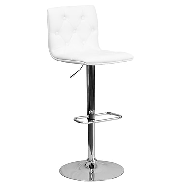 Flash Furniture Adjustable-Height Contemporary Tufted Vinyl Barstool, White with Chrome Base (CH112080WH)