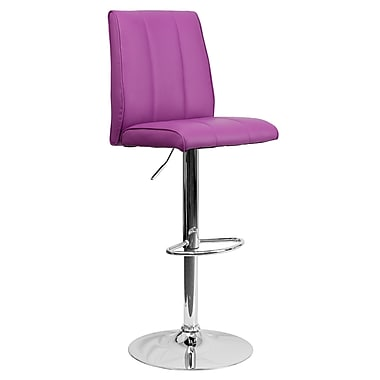 Flash Furniture – Tabouret de bar ajustable de 33,5 po en vinyle violet et à pied chromé, 2/bte (CH122090PUR)