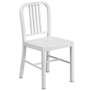 Flash Furniture – Chaise pour l'intérieur et l'extérieur, métal, blanc (CH3120018WH)