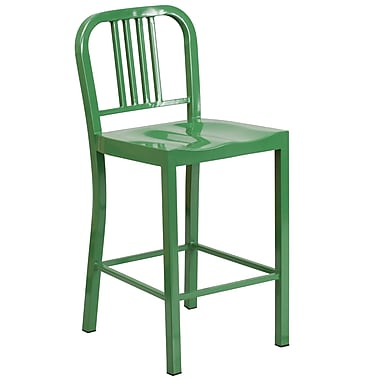 Flash Furniture – Tabouret de comptoir en métal pour l'intérieur et l'extérieur, siège à 24 po, vert (CH3120024GN)