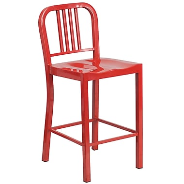 Flash Furniture 24'' High Red Metal Indoor-Outdoor Counter Height Stool