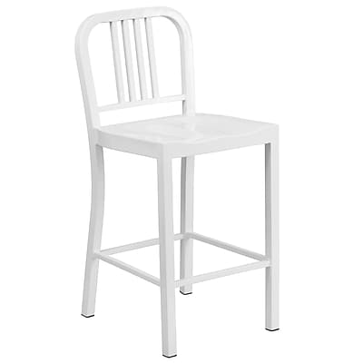 Flash Furniture 24'' High Metal Indoor-Outdoor Counter Height Stool in White (CH3120024WH)