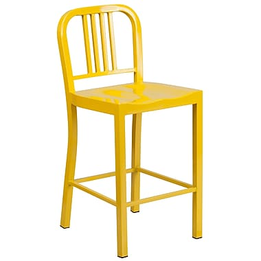 Flash Furniture 24'' High Metal Indoor/Outdoor Counter-Height Stool, Yellow (CH3120024YL)