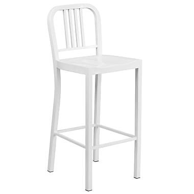 Flash Furniture 30''H Metal Indoor/Outdoor Barstool, White (CH3120030WH)