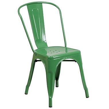 Flash Furniture – Chaise empilable pour l'intérieur et l'extérieur, métal, vert (CH31230GN)