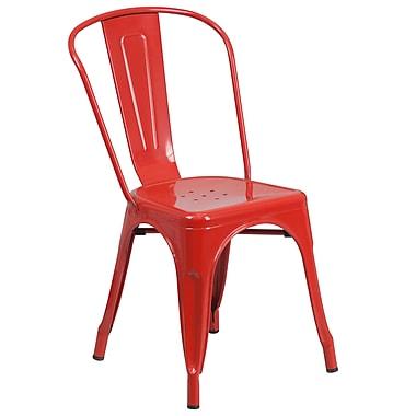 Flash Furniture – Chaise empilable d'intérieur et d'extérieur en acier, rouge fini poudré, 4/boîte (CH31230RED)