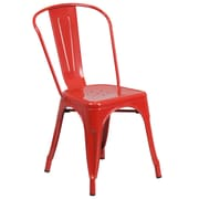 Flash Furniture Metal Indoor-Outdoor Stackable Chair, Red Powder Coat Finish, (CH31230RED)