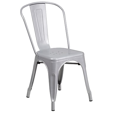 Flash Furniture Indoor/Outdoor Stackable Chair, Silver Metal (CH31230SIL)
