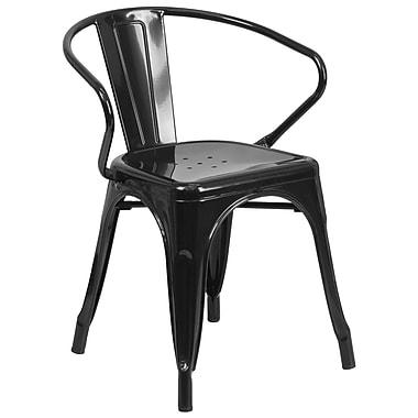 Flash Furniture – Chaise en métal avec accoudoirs pour l'intérieur et l'extérieur, noir (CH31270BK)