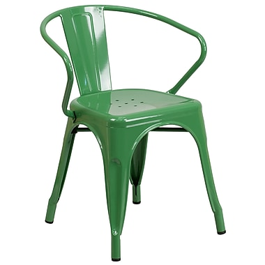 Flash Furniture Green Metal Indoor-Outdoor Chair with Arms, (CH31270GN)