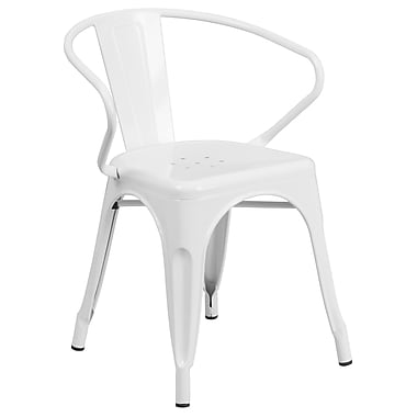Flash Furniture Metal Indoor/Outdoor Chair with Arms, White (CH31270WH)