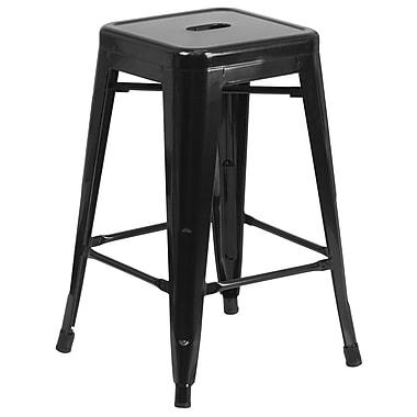 Flash Furniture – Tabouret de comptoir en acier de 24 po à siège carré et sans dossier, int/ext, noir (CH3132024BK)