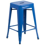 Flash Furniture 24''H Backless Metal Indoor/Outdoor Counter-Height Stool, Blue with Square Seat (CH3132024BL)