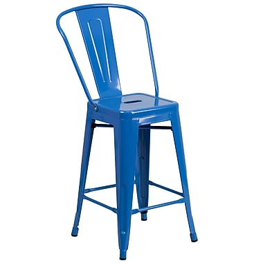 Flash Furniture 24''H Metal Indoor/Outdoor Counter-Height Stool, Blue (CH3132024GBBL)