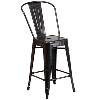 Flash Furniture 24.25 High Metal Indoor-Outdoor Counter Height Stool (CH3132024GBBQ)