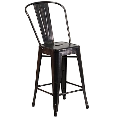 Flash Furniture – Tabouret de comptoir en métal, int/ext, hauteur de 24,25 po, fini noir/or patiné, 4/bte (CH3132024GBBQ)