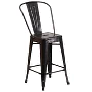 "Flash Furniture 24.25"" High Metal Indoor-Outdoor Counter Height Stool, Black-Antique Gold Finish, 4/Box (CH3132024GBBQ)"