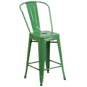 Flash Furniture 24''H Metal Indoor/Outdoor Counter-Height Stool, Green (CH3132024GBGN)