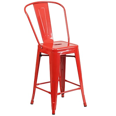 Flash Furniture 24'' High Metal Indoor/Outdoor Counter-Height Stool, Red (CH3132024GBRED)