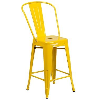 Flash Furniture – Tabouret de comptoir en métal pour l'intérieur et l'extérieur, hauteur de 24 po, jaune (CH3132024GBYL)